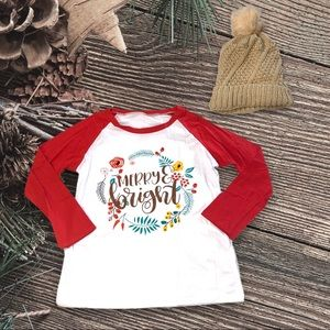 Merry Bright Christmas Holiday Wreath  Ringer Tee